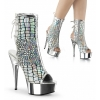 DELIGHT-1018HG Silver Hologram Ostrich Faux Leather